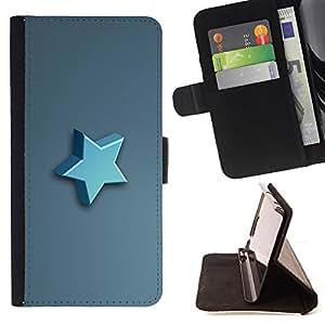 KingStore / Leather Etui en cuir / Apple Iphone 5C / Estrella azul