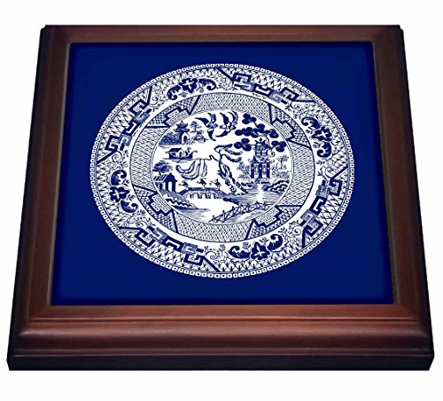 3dRose trv_220439_1 Willow Pattern in Delft Blue & White Trivet with Ceramic Tile, 8 x 8