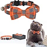 M-YOUNG Cat Collar Breakaway with Bell and Bow Tie, Plaid Design Adjustable Safety Kitty Kitten Collars(6.8''-10.8'') (Orange Plaid)