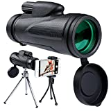12X50 Monocular Telescope High Powered Waterproof Portable Compact Monocular Low Light Night Vision with Fully Multi-Coated Lens for Outdoor, Hunting, Bird Watching, Camping, Hiking