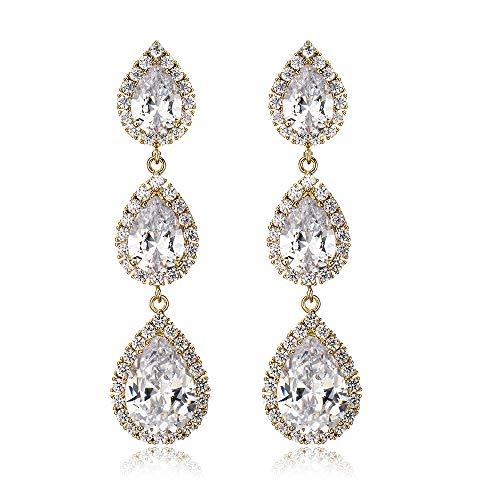 IDesign Wedding Bridal Earrings cz Earring for Women Long Teardrop Chandelier Dangle Earrings Elegant Dangle Earrings Zircon Crystal Long Drop Earrings for Brides Party Birthday(Silver) (Gold) (Zircon Earrings Hanging)