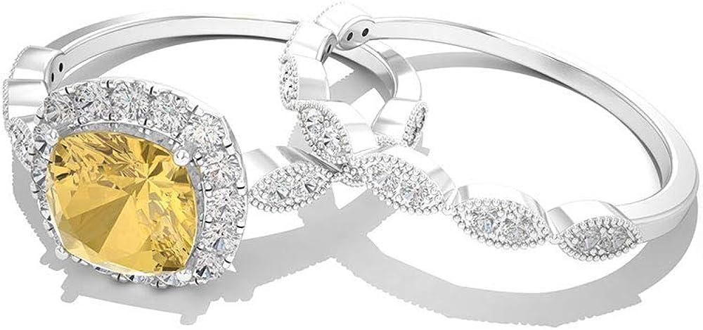Anillo de boda con diamante citrino certificado IGI, corte cojín solitario anillo de boda, claridad de color IJ-SI, anillo de compromiso, anillo de compromiso