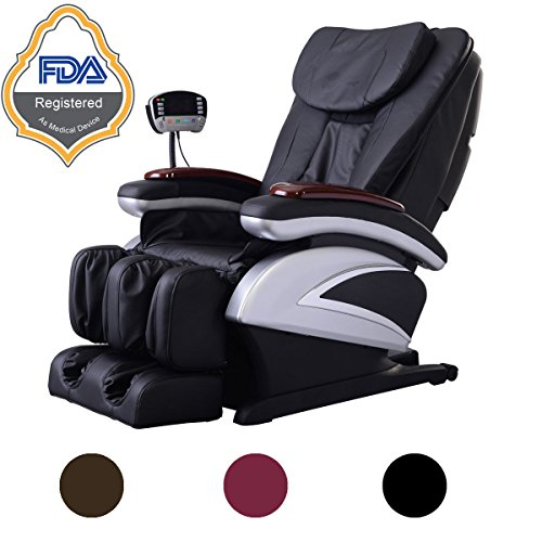 NEW Electric Full Body Heat Therapy Shiatsu Massage Chair Recliner w/Heat Stretched Foot Rest 06C (Black)