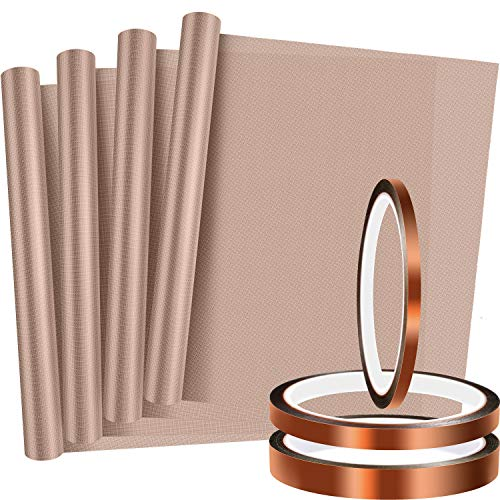 4 Pieces PTFE Sheet Heat Press Transfer Sheet Heat Resistant Craft Mat and 3 Rolls Heat Resistant Tape Heat Press Tape