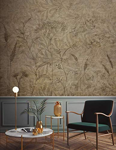 Murwall Floral Wallpaper Monochrome Plants Wall Mural Leaf Pattern Wall Print Rustic Home Decor Cafe Design Living Room