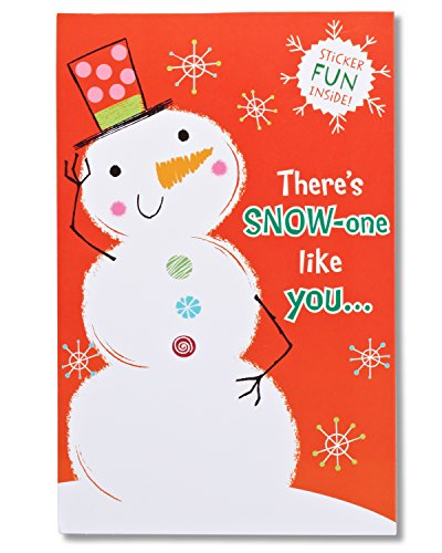American Greetings Snowman Christmas Card with Stickers