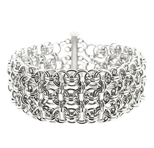 Weave Got Maille Helm Chain Maille Bracelet Kit, Silver Cuff (Enameled Cuff)
