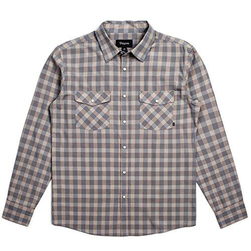 BRIXTON (ブリクストン) 長袖シャツ チェックシャツ WAYNE L S WOVEN - WARM GREY 01043 B01MZCJEKB   Small