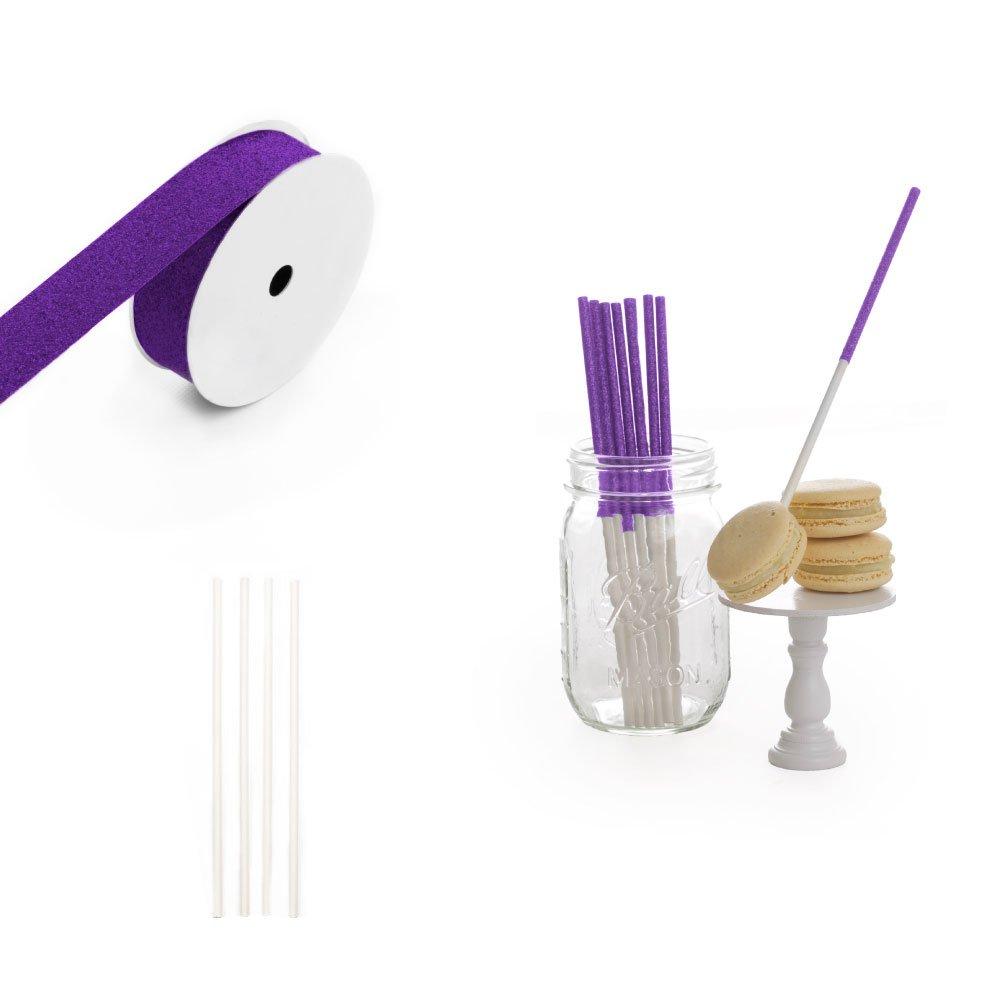 Dress My Cupcake 6-Inch Glitter Cakepop and Dessert Stick DIY Kits, Plum Purple Glitter, 500-Pack