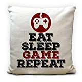 Game Chair Cushion Cover Pillow Slip Case - Gaming Seat Pad Eat Sleep Game Repeat - Birthday Christmas Gift