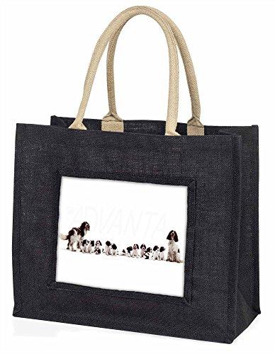 Advanta–Große Einkaufstasche Springer Spaniel Hunde Große Einkaufstasche Weihnachtsgeschenk Idee, Jute, schwarz, 42x 34,5x 2cm