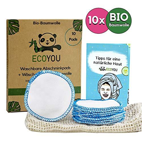 EcoYou® Abschminkpads waschbar BIO-Baumwolle [10x] Inkl. Wäschenetz aus Baumwolle Nachhaltige ZERO WASTE Wattepads wiederverwendbar Bonus: Gesichtspflege Guide + DIY Rezepte