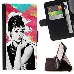 Momo Phone Case / Flip Funda de Cuero Case Cover - Cine Cine Retro Vintage Estrella - Samsung Galaxy J3 GSM-J300