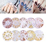 NICOLE DIARY Nail Rivet Studs Set Metal Metallic Beads Gold Silver Rose Gold Nail Sticker Mixed Gems Nail Accessories DIY Manicure 3D Nail Art Decoration (10 Boxes)