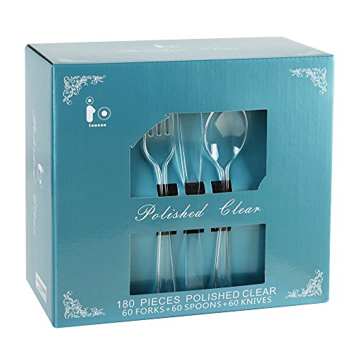 180 Piece Plastic Cutlery, Crystal Disposable Flatware Extra Heavy Duty, Clear Plastic Silverware Set Includes: 60 Forks, 60 Knives, 60 Spoons(IOOOOO) ()