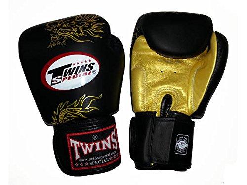 Twins Fancy Boxhandschuhe Leder schwarz Klettverschluss am Handgelenk und Gold Dragon Gr/ö/ße 16/Oz