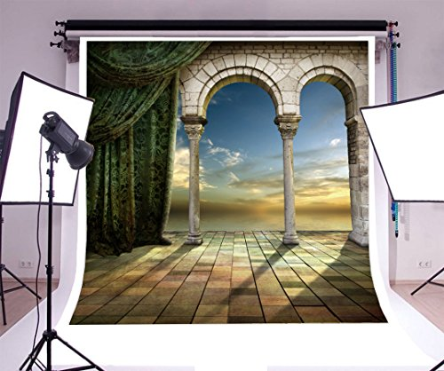 (Laeacco 8x8FT Vinyl Photography Background Romantic Palace Arched Door View Sunset Curtain Squre Tile Scene Wedding Party Photographic Shooting Video Studio Props 2.5x2.5m )