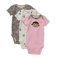 Carter's Pink Monkey Leopard 3 Pack Bodysuits 3-6 Months
