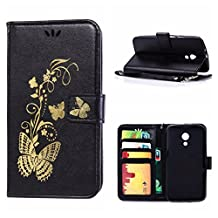 MOONCASE Moto G (2nd Gen) Case, Bronzing Butterfly Pu Leather Wallet Pouch Etui Flip Kickstand Case Cover for Motorola Moto G (2nd Generation) Bookstyle Folio [Shock Absorbent] TPU Case with Photo Frame Black