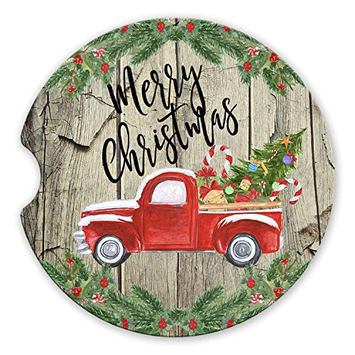 Merry Christmas Coaster - Merry Christmas Sandstone Car Coaster Vintage Red Truck and Christmas Tree Wood Background Set of 2