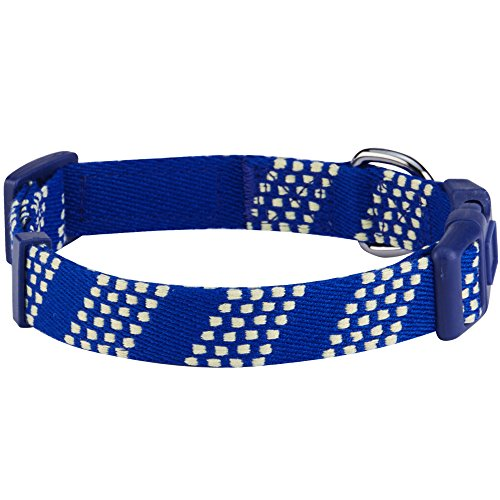 Image of Blueberry Pet 10 Patterns Artisan Crochet Inspired Endless Squares Dog Collar, Royal Blue, Medium, Neck 14.5