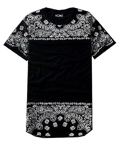 YCMI Men's Hip Hop Floral Print Short Sleeve Long T shirts (S, Style 1)