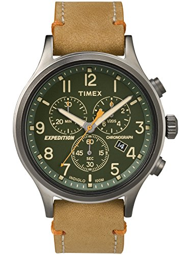 on Scout Chrono Watch, Tan Leather Slip-Thru Strap Dad's Gift Fathers Day ()