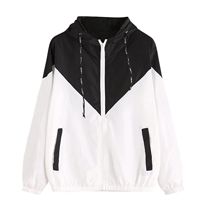 Womens Color Block Waterproof Raincoat Casual Thin Drawstring Hooded Zip up Sports Rian Jacket Windproof Windbreaker
