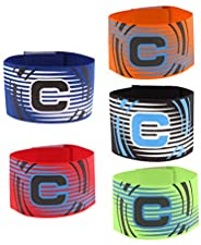 Baosity 5 Pieces Football Soccer Captain Armband, Elastic Captains Armband for Adult Youth One Size, Stripe De