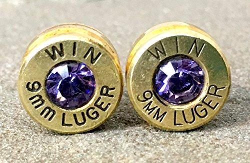 (Bullet Earrings 9mm Brass Shell Casings in Swarovski Tanzinite)