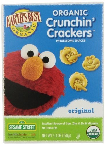 Earth's Best Organic Sesame Street Crunchin' Crackers, Original, 5.3-Ounce Boxes (Pack of 6) ( Value Bulk Multi-pack) - Crunchin Crackers
