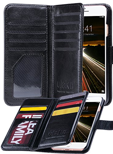 ULAK iPhone 8 Case, iPhone 7 Case, PU Leather iPhone 7/iPhone 8 Wallet Case with Credit Card Slot Magnetic Closure Flip Wallet Case Cover for Apple iPhone 7/8 4.7 inch - Black