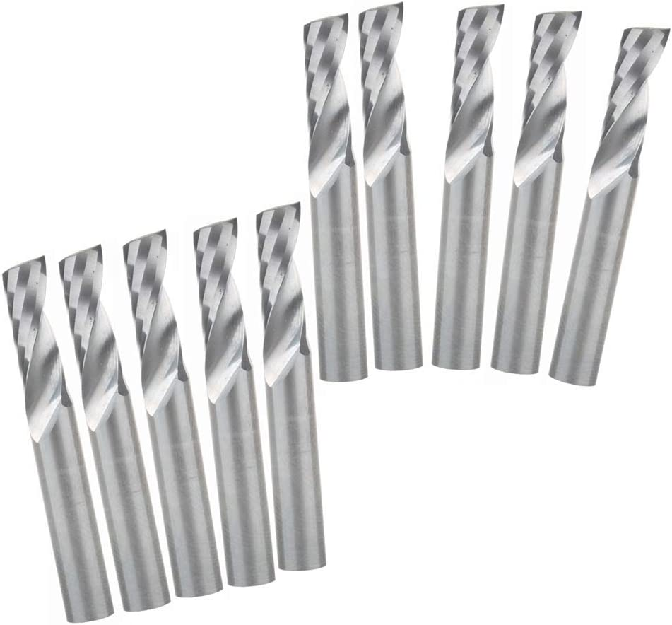 FLY MEN 10Pcs 617mm Single Flute Spiral Bit CNC Carbide Micro End Milling Cutters Wood Engraving Tools