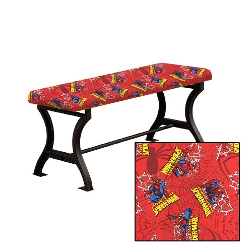 "Wood and Metal 18"" Tall Universal Bench with a Padded Seat Cushion Featuring Your Favorite Novelty Themed Fabric (Spiderman) (Cushions Banquette Seat)"