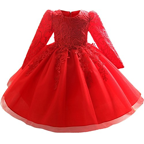 Myosotis510 Girls' Lace Princess Wedding Baptism Dress Long Sleeve Formal Party Wear for Toddler Baby Girl (3 Years, Red)
