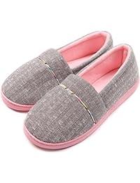 Women Comfortable Cotton Knit Anti-Slip House Slipper Washable Slip-On Home Shoes