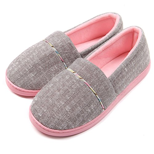 ChicNChic Women Comfortable Cotton Knit Anti-Slip House Slipper Washable Slip-On Home Shoes 7-7.5 B(M) US - Grey