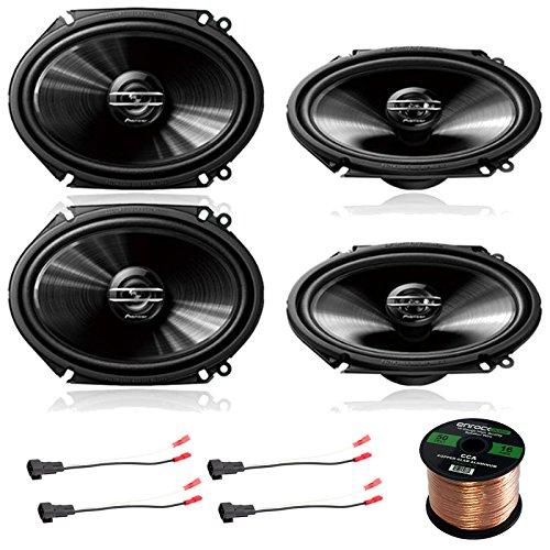 4X Pioneer 250 Watt 6 x 8 2-Way Coaxial Car Audio Speakers, 4X Enrock 16 Gauge Speaker Harness Adapter W/Red Bullet for Select Ford Vehicles 1998-UP, Enrock Audio 16-Gauge 50 Foot Speaker Wire -