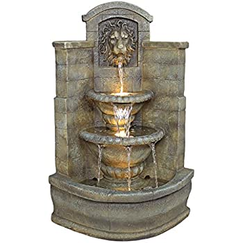 Water Fountain With Halogen Light   3 Foot Tall Saint Remy Lion Garden  Decor Corner Fountain   Outdoor Water Feature