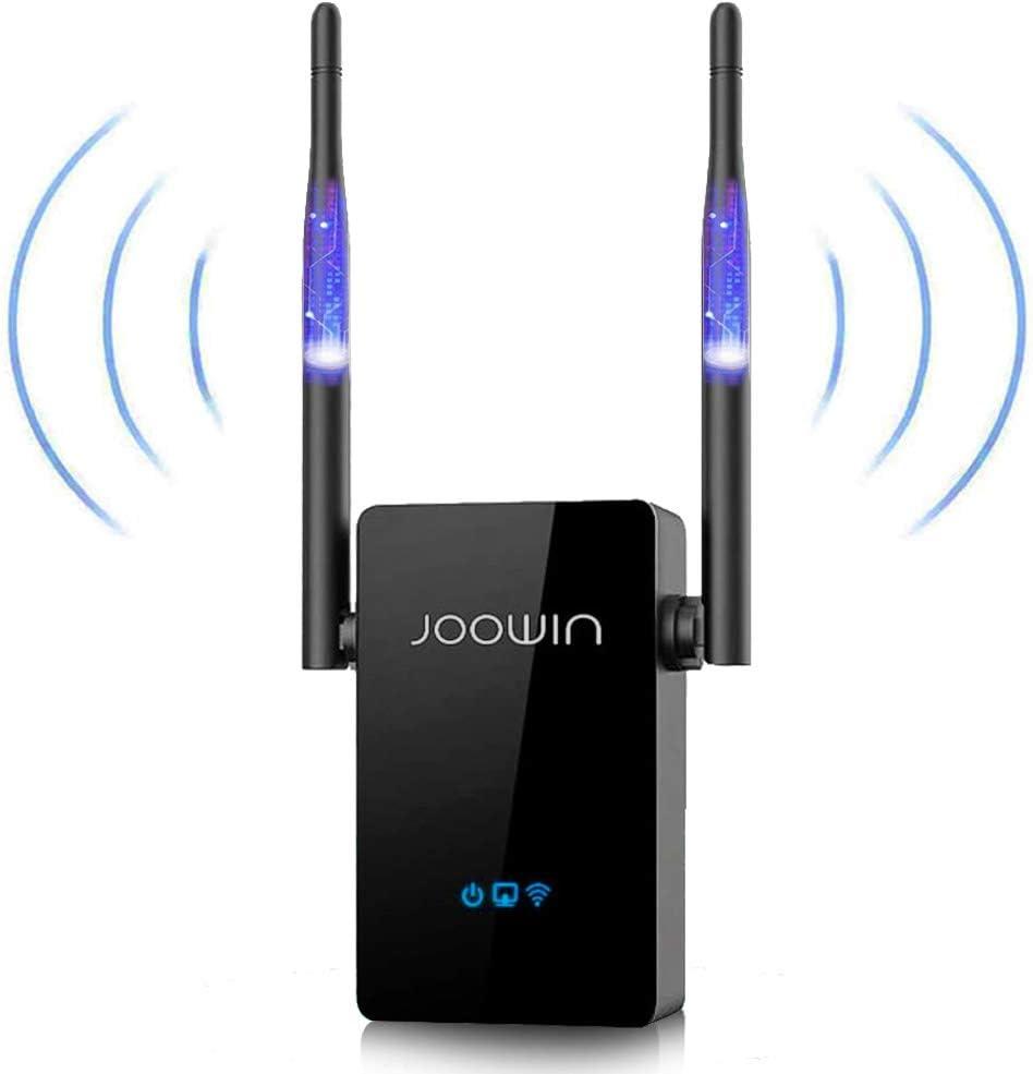 JOOWIN Repetidor WiFi 300Mbps 2.4 GHz Amplificador WiFi Extensor Repetidor Inalámbrico con Botón WPS, Tres Modos, Dos Antenas Negro