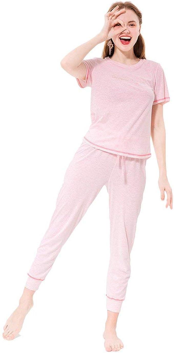 Pijamas Mujer Elegante Manga Corta O Cuello con Cordón ...