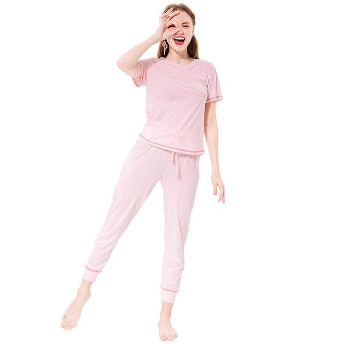 Pijamas Mujer Elegante Manga Corta O Cuello con Cordón Batas ...