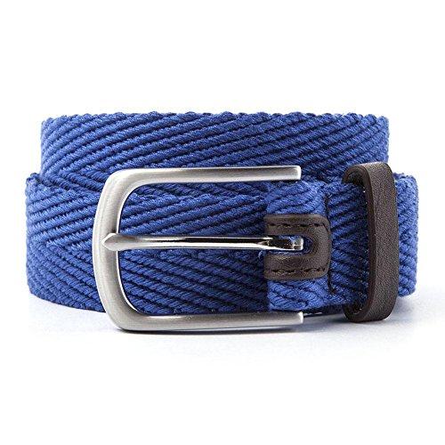 Ben Sherman - New Herringbone Leather Trimmed Belt Royal MD Ben Leather Belt