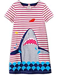 2018 Toddler Girls Summer Dresses Short Sleeve Outfit 3-8 Years