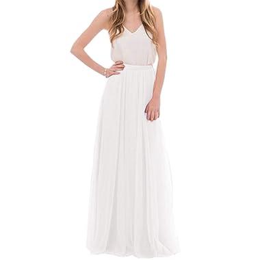 Omelas Womens Long Floor Length Tulle Skirt High Waisted Maxi Tutu Party Dress