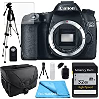 Canon EOS 70D Body, 32GB SD SDHC Class 10 Memory Card, Tale Top Tripod, Camera Case, USB Card Reader, Table Top Tripod, Lens Cleaning Kit and LCD Screen Protectors