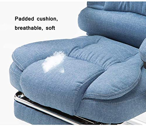 Kontorsstol, tyg hög rygg verkställande uppgift svängbar stol dator skrivbord spelstol armstöd dra ut fotpall knästol