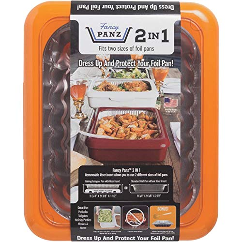 Fancy Panz FP21006 2 In 1 Portable Casserole Carrier for Indoor & Outdoor Use, Fits Shallow or Standard Half Size Foil Pans, Bonus Serving Spoon & Foil Pan Included, Orange