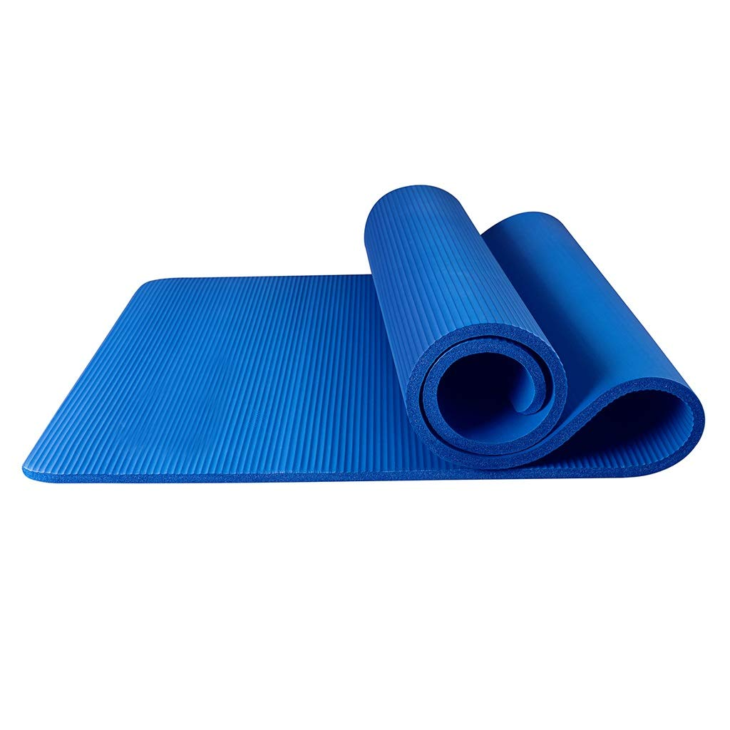 blueee 15mm ASJHK Yoga Mat Beginner Slip Female Thickening Widened Long Mat Mat Home Yoga Men's Fitness Mat Yoga mat (color   blueee, Size   15mm)
