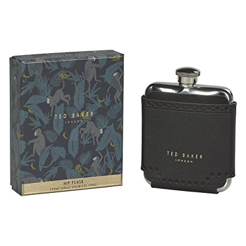 Ted Baker ATED454 Men's Black Brouge Monkian Stainless Steel Hip Flask with Leather Effect Case, 6 fl oz, ()